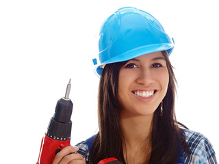 smiling girl with a drill