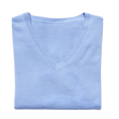 Blue folded woman knitted blouse