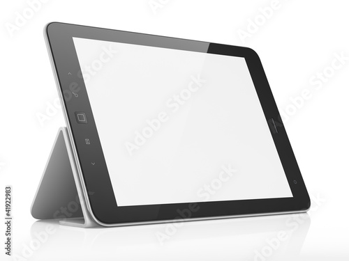 Leinwanddruck Bild Black abstract tablet pc on white background