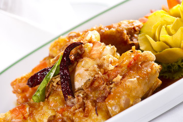 deep fried prawn, Deep fried prawn with sweet tamarind sauce