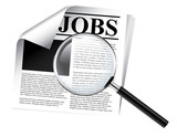 Jobs newspaper with magnifier