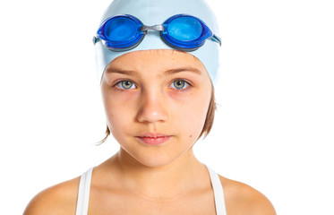 Young swimmer girl