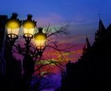 Barcelona Rambla Catalunya streetlights backligth poster