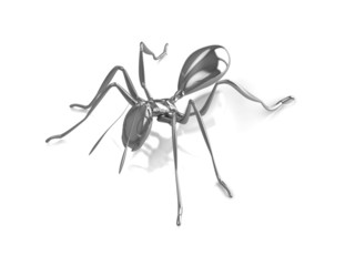 3d silver ant