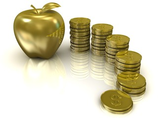 Coins and golden apple