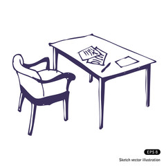 Desk and chair. Isolated