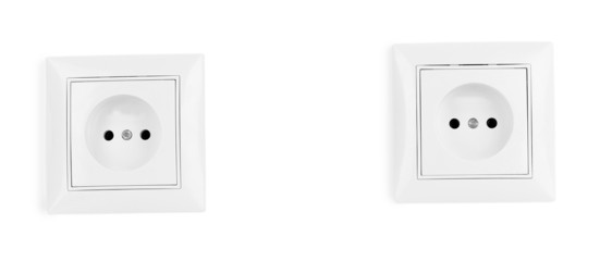 White electric sockets on the wall