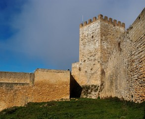 Inner court of medieval castle in Enna, Sicily, Italy