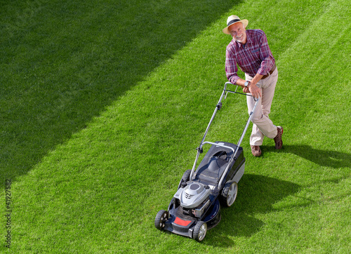 mowing senior man, take a break