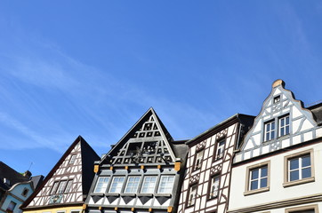 Houses' details market square of Cochem (Germany)