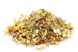 chamomile mixes with lemongrass and hibiscus herbal tea, over wh