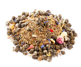 jasmine pearls green tea with red and green rooibos blend, over