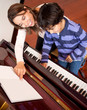 Boy in piano lessons