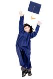Boy throwing mortarboard