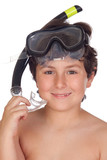 Adorable child with snorkelling equipment