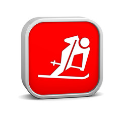 Downhill skiing sign