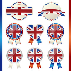 united kingdom union jack emblem set