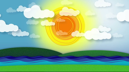 Animation - hills, stream/river, radiating sun & moving clouds.