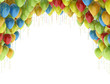 Colorful birthday party balloons isolated on white background