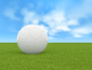 Soccer ball and green field of grass