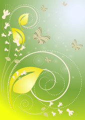 Decor with butterflies and flowers on the green blue background