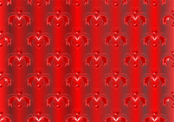 Red satin striped background with oriental ornaments