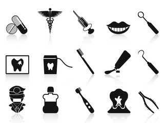 black dental icons set