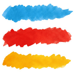 Set of colorful strokes of paint brush