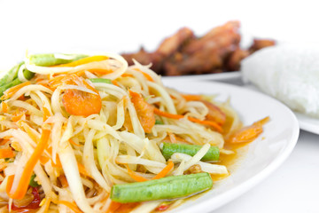 Spicy green papaya salad,  Thai cuisine