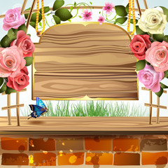 Wood banner with roses and brick wall