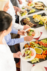 Catering food buffet at business meeting