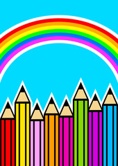 Background with crayons and rainbow