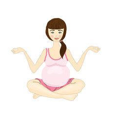 pregnant woman yoga on a white background