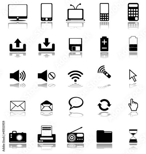 Multimedia Symbole schwarz mit Schatten