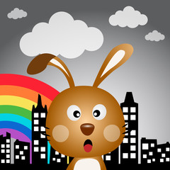Rabbit and rainbow in the city