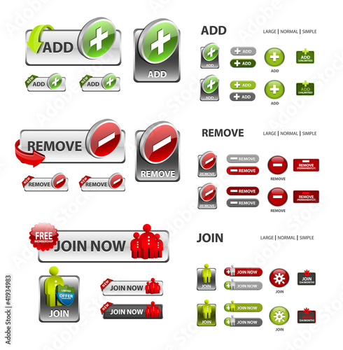 add, remove and user icons / collection of vector