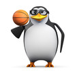 3d Penguin in glasses balances a basketball