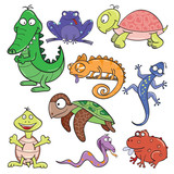 Reptiles and amphibians doodle icon set
