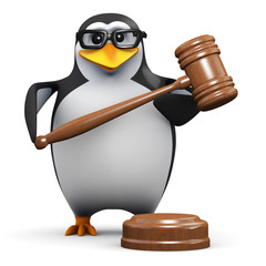 3d Penguin in glasses with auction gavel