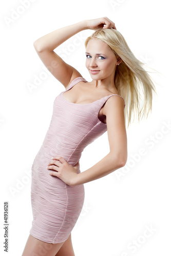 blond girl in a dress