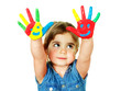 Little girl shows her coloured hands