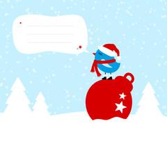 Blue Bird On Christmas Ball Speech Bubble Blue