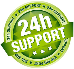 "Button Banner ""24h Support"" Green"