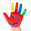 Coloured hand of a child