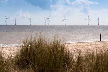 Scroby Sands, Caister Offshore Wind Turbines, Norfolk, UK.