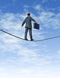 Business man Walking A Tightrope