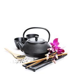 Tea pot and chopsticks