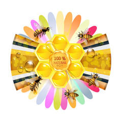 Bees and honeycomb over floral background