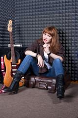 girl in recording studio
