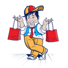 shopping cheerful character